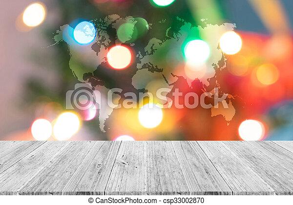 Landkarte Abstrakt Baum Bokeh Holz Terrasse Hintergrund Welt