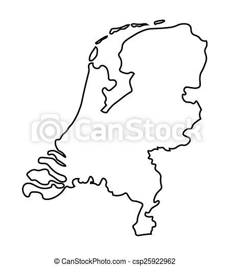 Niederlande Karte Umriss.Landkarte Abstrakt Niederlande Schwarz