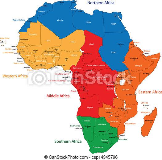 landkarte, afrikas - csp14345796