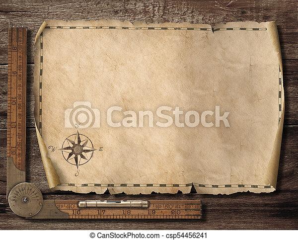 landkarte, altes , illustration., reise, hintergrund., abenteuer, leer, concept., 3d - csp54456241