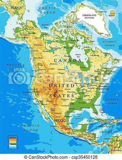Physische Karte Von Nordamerika Sehr Detaillierte Physikalische