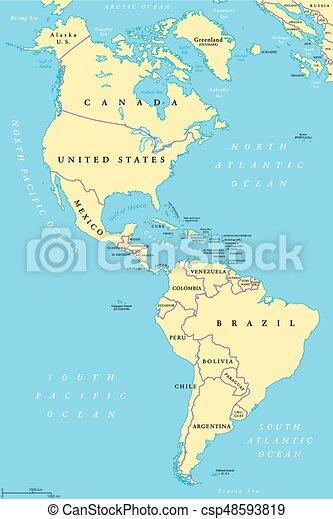 Nord Und Sudamerikanische Politische Karte Die Politische