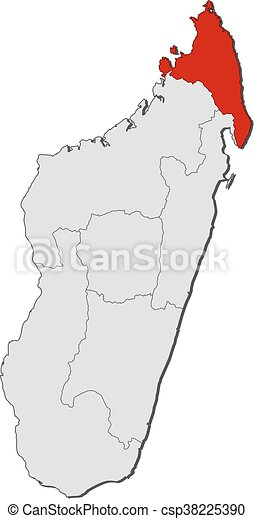 Karte - Madagaskar, antsiranana - csp38225390