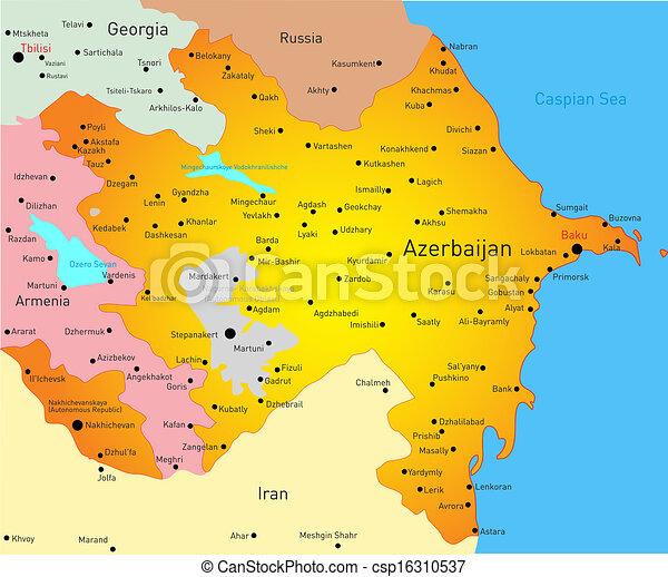 Vector Illustriert Die Karte Von Azerbaijan