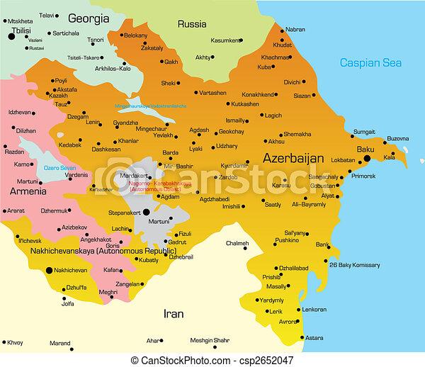 Karte Von Azerbaijan Illustration Der Azerbaijanischen Karte
