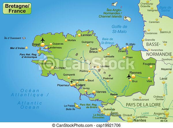 Landkarte Bretagne Landkarte Grun Bretagne Uberblick