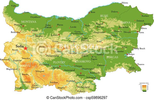 Karte Bulgarien.Landkarte Bulgarien Physisch