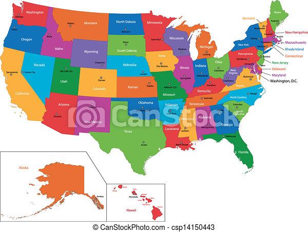 Farbige Us Karte Farbige Usa Karte Mit Staaten Und Grossstadten