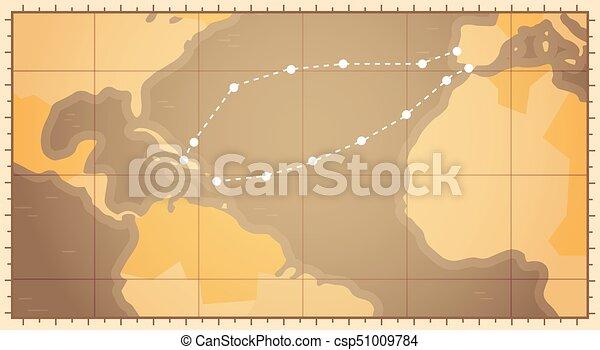 landkarte, columbus, begriff, usa, strecke, tag, colombo, retro, welt,  feiertag, national, glücklich