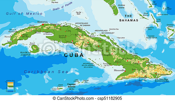 Karte Kuba.Landkarte Erleichterung Kuba