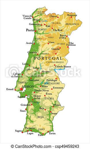 Portugal Relief Karte Sehr Detaillierte Physikalische Karte Von