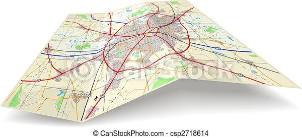 landkarte, falten - csp2718614