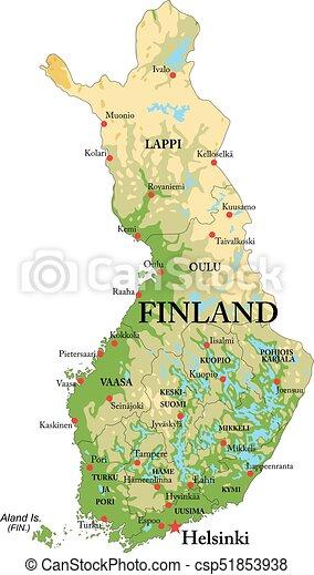 Finnlands Physikalische Karte Sehr Detaillierte Physikalische