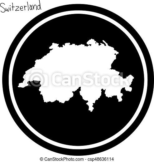 Schweiz Karte Schwarz Weiss.Landkarte Freigestellt Abbildung Vektor Schwarzer Hintergrund Schweiz Weisser Kreis