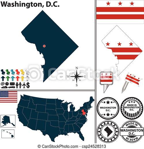 Landkarte, gleichstrom, washington, usa. Satz, gleichstrom ...