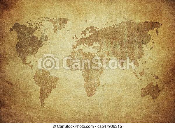 landkarte, grunge, welt - csp47906315