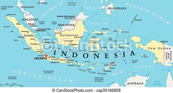 Indonesische Politische Karte Indonesien Politische Karte Mit Hauptstadt Jakarta Landesgrenzen Und Wichtigen Stadten Canstock