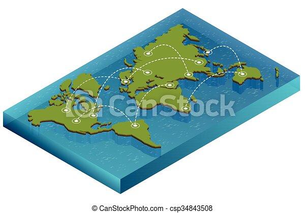 Landkarte, isometrisch, wohnung, concept., politisch, eps, abbildung ...