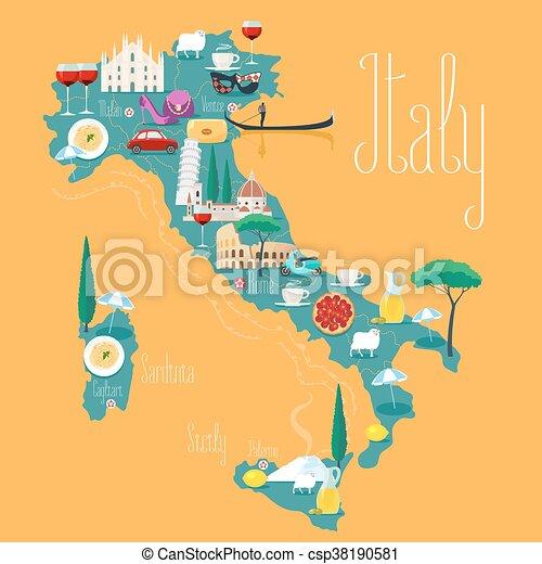 Landkarte Italien Heiligenbilder Wahrzeichen Abbildung Vektor