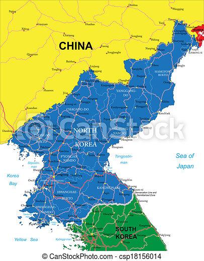Nord Korea Karte Sehr Detaillierte Vektorkarte Von Nordkorea Mit