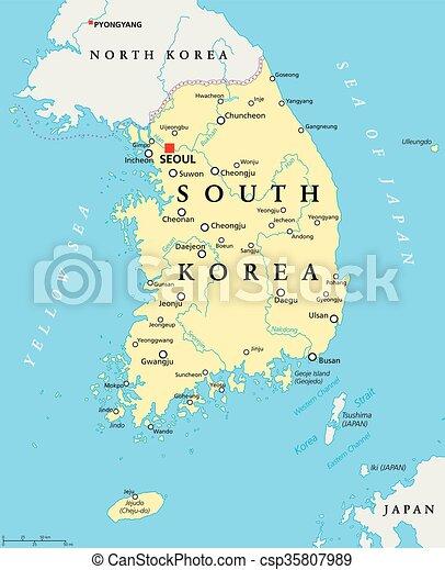 Landkarte Korea Politisch Suden Landkarte Korea Illustration