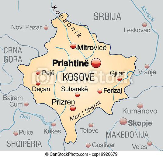 Orange Landkarte Kosovo Uberblick Pastell