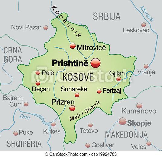 Karte Von Kosovo Karte Des Kosovo Als Ubersichtskarte In Pastellgrun
