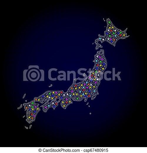 Mesh carcass Karte von Japan mit hellen Lichtflecken - csp67480915