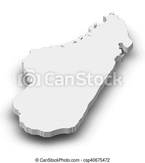 landkarte, madagaskar, 3d-illustration, - - csp40675472