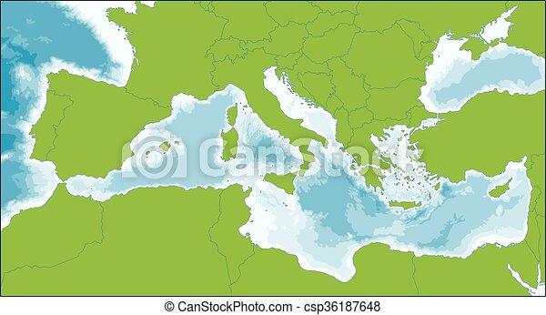 Landkarte Mittelmeer Fast Gebiet Umgeben Mittelmeer