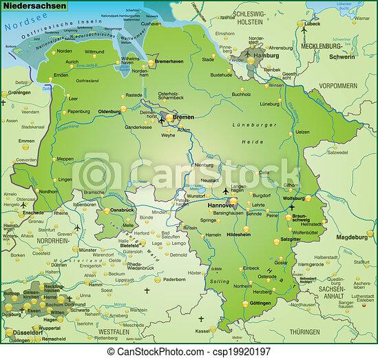 Landkarte Niedersachsen Landkarte Senken Grun Sachsen Uberblick