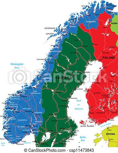 Landkarte Norwegen Ausfuhrlich Landkarte Gebiete