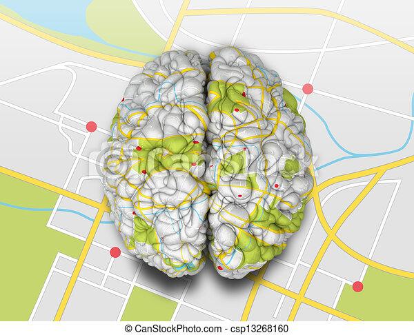 Landkarte Oberseite Verstand Gehirn Landkarte Klappe