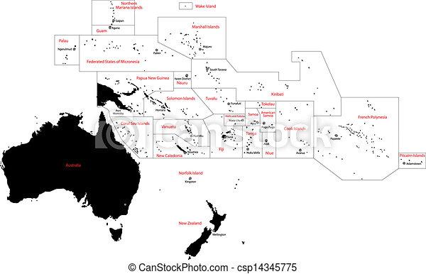 landkarte, ozeanien, schwarz - csp14345775