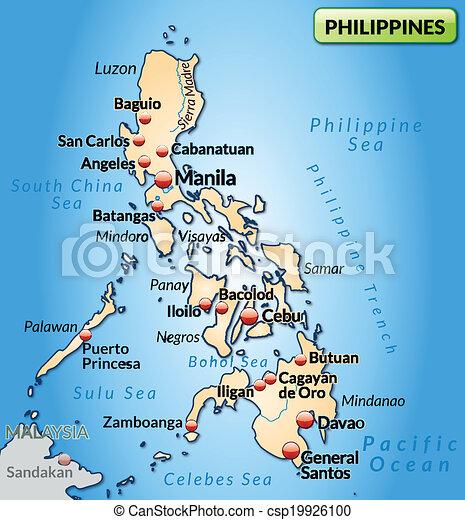 Orange Landkarte Philippinen Uberblick Pastell