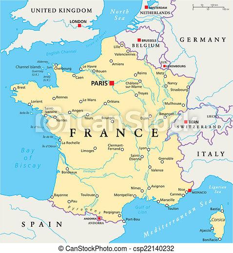Frankreichs Politische Karte France Political Map Mit Hauptstadt