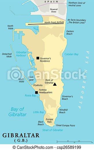 Meerenge Von Gibraltar Karte.Landkarte Politisch Gibraltar