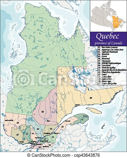 Karte Von Quebec Quebec Ist Die Zweitgrosste Provinz Kanadas Und