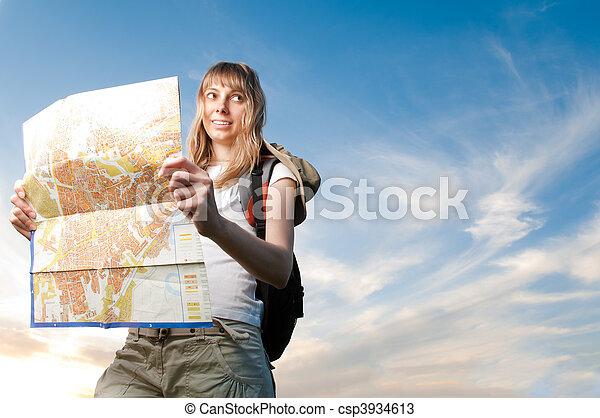 landkarte, rucksack, frau, junger - csp3934613