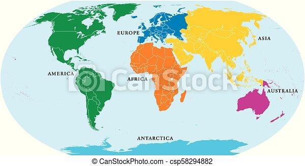 Sechs Kontinente Welt Politische Karte Amerika Afrika