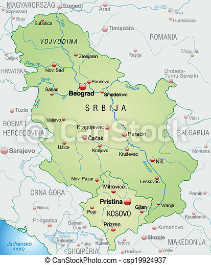 Landkarte Serbien Uberblick Grun Pastell