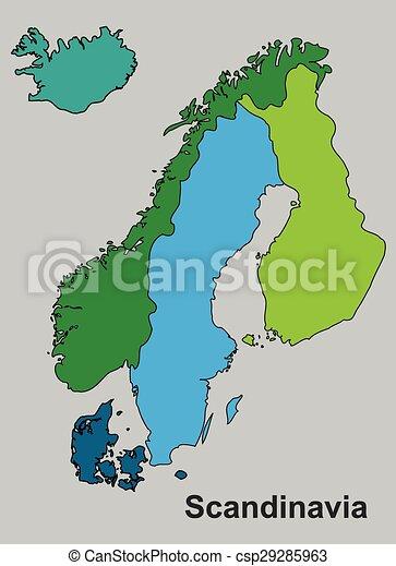 Landkarte Skandinavien Bunte Landkarte Vektor Vektor