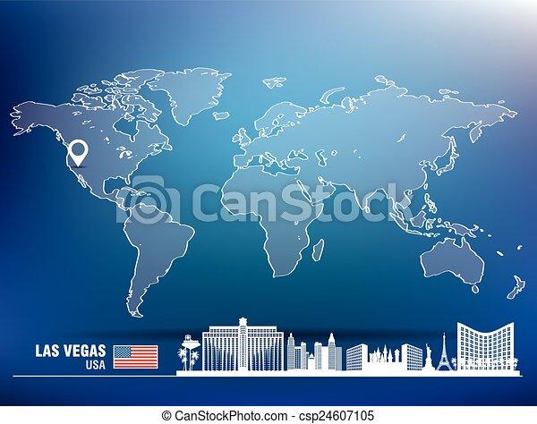 landkarte, skyline, las vegas, stift, las - csp24607105