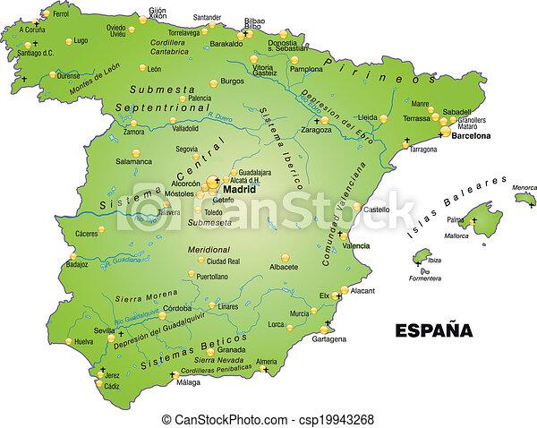 landkarte, spanien - csp19943268