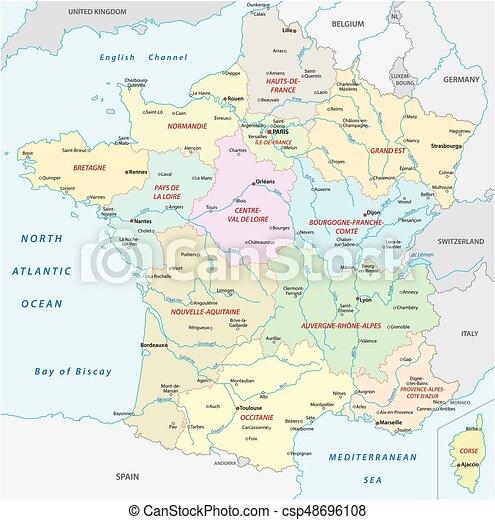 Landkarte Stadte Frankreich Gebiete Meisten Wichtig Neu