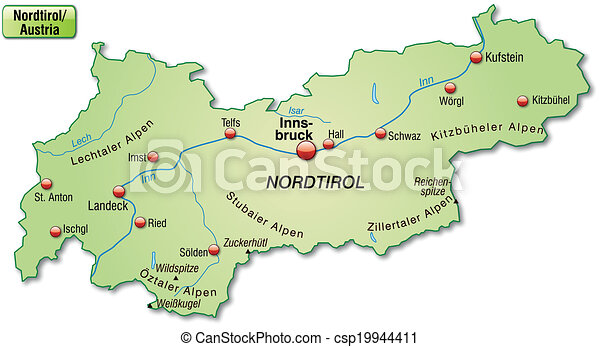 Karte Tirol.Landkarte Tirol