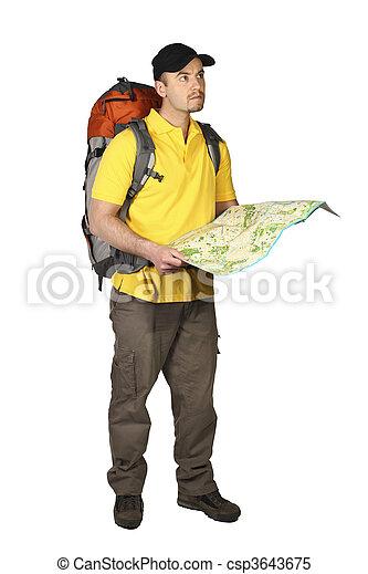 Tourist mit Karte - csp3643675