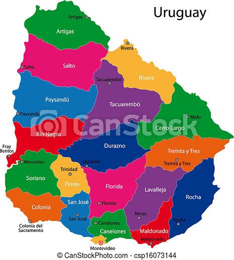 Uruguay Karte Karte Der Republik Uruguay Mit Den Abteilungen
