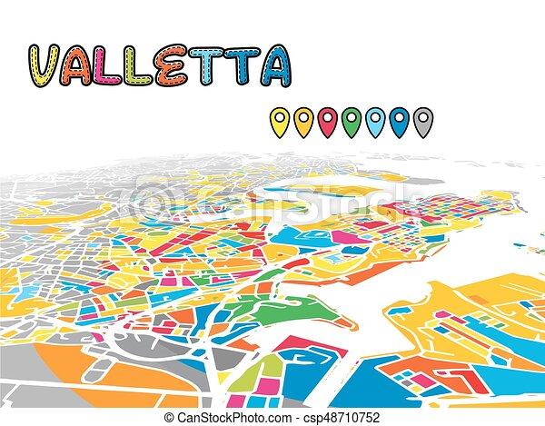 Landkarte Valletta Malta Stadtzentrum Vektor 3d Strassen
