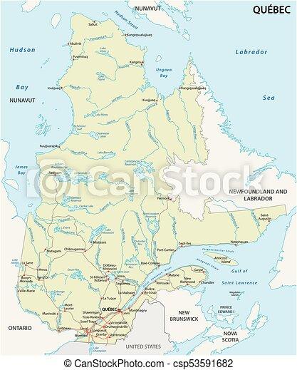 Provinz Landkarte Vektor Quebec Strasse